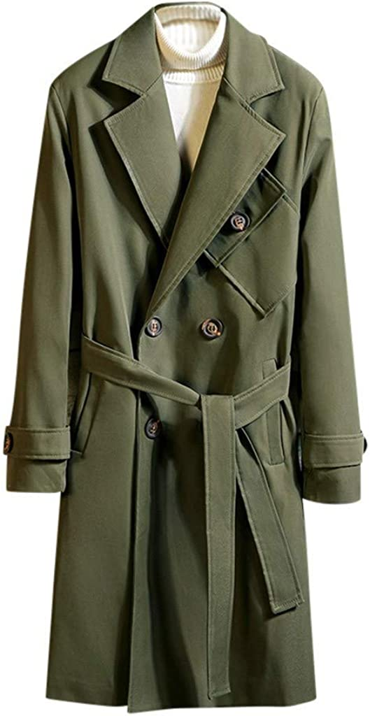 Men's Trenchcoat with Belt Winter Warm Button Down Windproof Jacket Coat Outwear