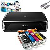 Canon PIXMA IP7250 Tintenstrahldrucker + USB Kabel & 5 kompatible Druckerpatronen der Marke ink24 (Drucken per USB oder WLAN) /OHNE Originalpatronen