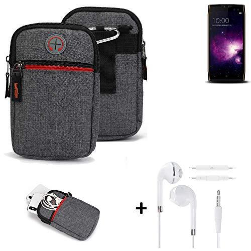K-S-Trade® Gürtel-Tasche + Kopfhörer Für -Doogee S50- Handy-Tasche Schutz-hülle Grau Zusatzfächer 1x