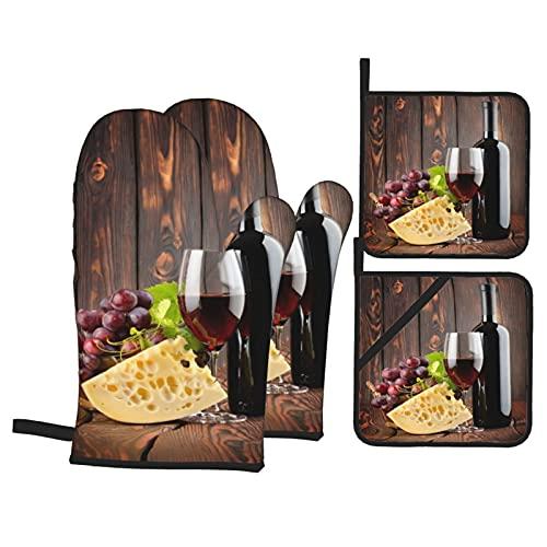 Guanti da forno e presine, set da 4, vino rosso, cabernet, vetro, bottiglia, formaggio, uva, stampa, tavole di legno, guanti da barbecue in poliestere con fodera trapuntata, termofori resistenti
