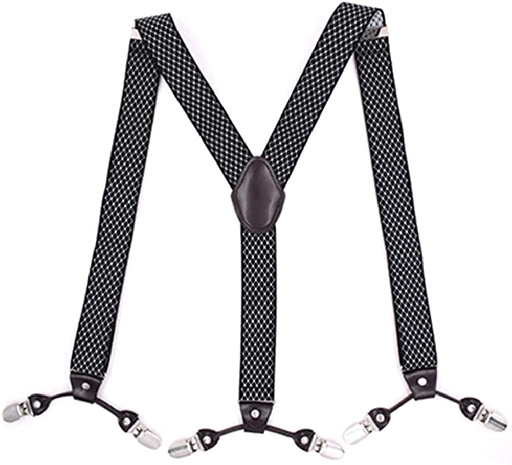 Suspenders Leather Alloy 6 Clips Braces Male Casual Suspensorio Trousers Strap Father/Husband 3.5x120Cm