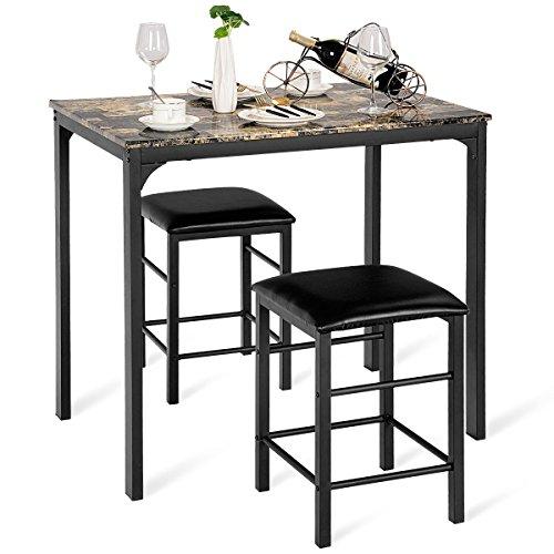 COSTWAY 3tlg. Küchenbar, Sitzgruppe Küche, Esstisch mit 2 Stühlen, Balkonset Essgruppe