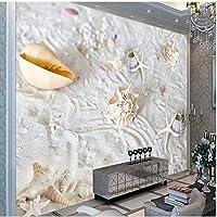Ljjlm カスタム大フレスコビーチスタイル貝ヒトデ背景壁不織布壁紙パペルデパレードパラカルト-200X150Cm