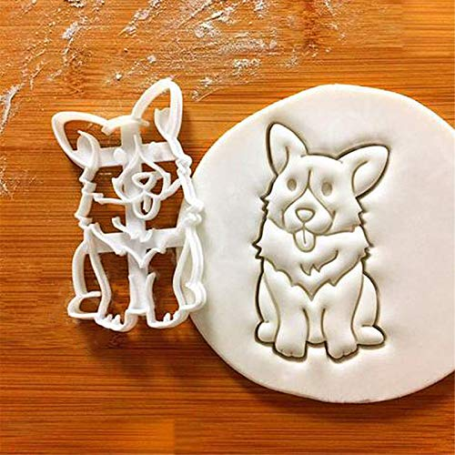 Corgi Cookie Cutters Funny Plastic 3D Biscuit Cutter Stamp Sugar Molds For Kids French Bulldog Dog Cookie Cutter(B)