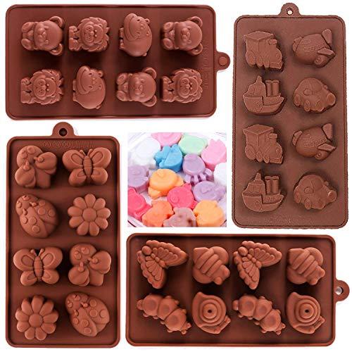 Stampo in Silicone BESTZY 4PCS Stampo in Silicone per cioccolatini Stampo Silicone Cioccolato Caramelle Biscotti Stampi da Forno Stampo per Sapone