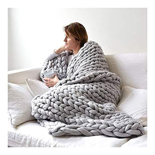 Grof gebreide deken, met de hand geweven chunky gebreid blokkeerbaar voor bank sofa zacht fluffy Throw slaapkamer woonkamer A