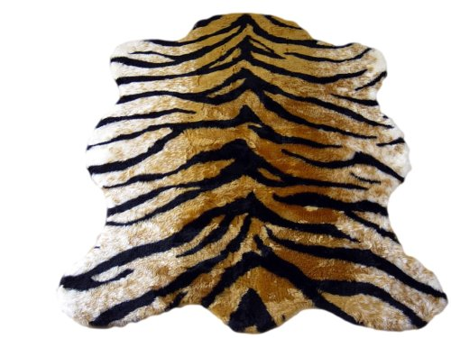 Walk on Me Classic Faux Fur Tiger Skin Rug - New Made in France (5x7 (Actual 56' x 79'))