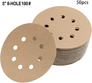 DZT1968 50 Pcs 5-Inch 8-Hole Hook and Loop Adhesive Sanding Discs,Random Orbital Sander Sand Paper for 100-Grit ($0 Shipping) (A)