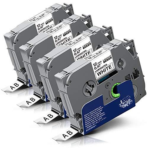 4x Labelwell 0.47 12mm x 8m White Tape Kompatibel Schriftband Ersatz für Brother Tzc Tz Tze-231 Tze231 TZ231 Schwarz auf Weiß für Brother P-Touch Cube Plus PT D400 H105WB D210 H110 D600VP H107B H100LB