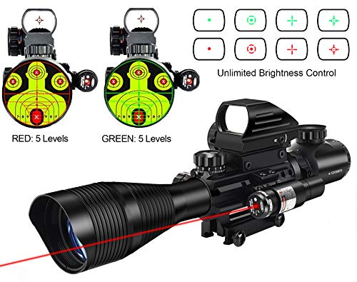 MidTen 4-12x50 Dual Illuminated Scope with Dot Sight & Laser Sight & 20mm Mount (Red Laser)