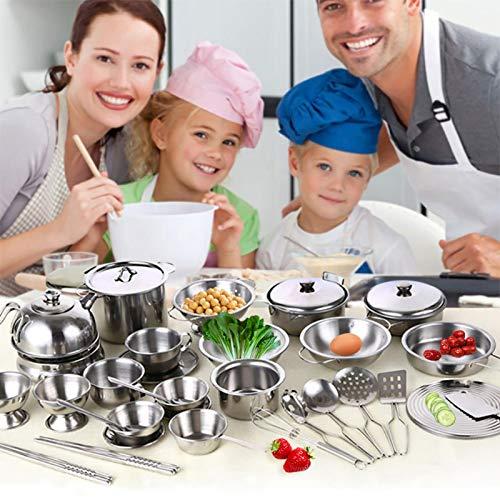duhe189014 Juguete De Cocina Infantil Set Acero Inoxidable Juego De Ollas Y Sartenes De Cocina Cocina De Juguete para Niños Chico Chica Regalo Present