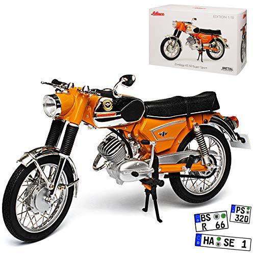 Zündapp KS 50 Super Sport Orange Silber 1962-1984 1/10 Schuco Modell Motorrad mit individiuellem Wunschkennzeichen