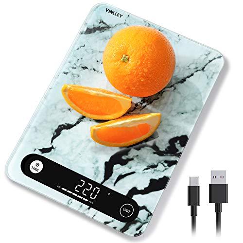 Vinlley Báscula de Cocina Digital Electrónica con Pantalla LCD y Superficie de Vidrio Templado para Peso Balanza Alimentos Multifuncional 10kg / 22 lbs Comida Función Auto-Tara Alta Precisión,