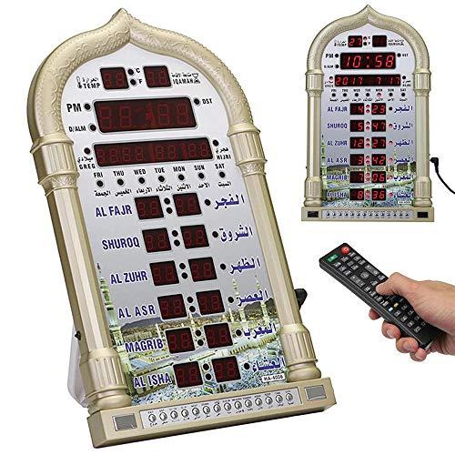 ZXY Azan Reloj Islámico Reloj De Oración Relojes Musulmanes, Mezquita Ramadán Oración Musulmana Música Islámica Tiempo De Juego Recordando Calendario LED Alarma Reloj De Pared,Oro
