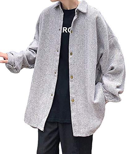 [サン ブローゼ] コーデュロイ シャツジャケット ジャケット シンプル デザイン 羽織 アウター パーカー お洒落 10代 20代 30代 40代 50代 パーカ フード プルオーバー 長袖パーカー トップス インナー jacket 大きいサイズ 韓国 ファッション スタイル オシャレ カッコイイ かっこイイ ジャンバー ジップアップパーカー ちょいワル スマート 洋服 服 ライトグレー 2XL