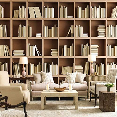 3D vliesbehang personaliseerbaar schilderij wandschilderij behang boekenkast bibliotheek woonkamer sofa slaapkamer studie achtergrond decor wandschilderij 3D behang voor muur 350 x 245 cm.