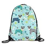 OMGiHome Schnauzers Pajamas Backpack Gymsack Sack Pack White,Unisex Drawstring Shoulder Backpacks Drawstring Bags Casual Travel Bags Shoulder Pouch Beam Port Backpack Tote Canvas Bag Storage Bag