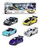 SIMBA TOYS Majorette - Porsche Set de 5 coches de metal, ruedas giro libre, licencia oficial Porsche (Majorette 212053171)