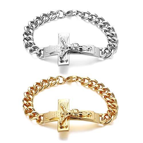 JewelryWe Pulsera de hombre oración pulsera crucifijo Biblia Inglesa Cruz Jesu Padre Señor de acero inoxidable color plata oro regalo Paquete de 2
