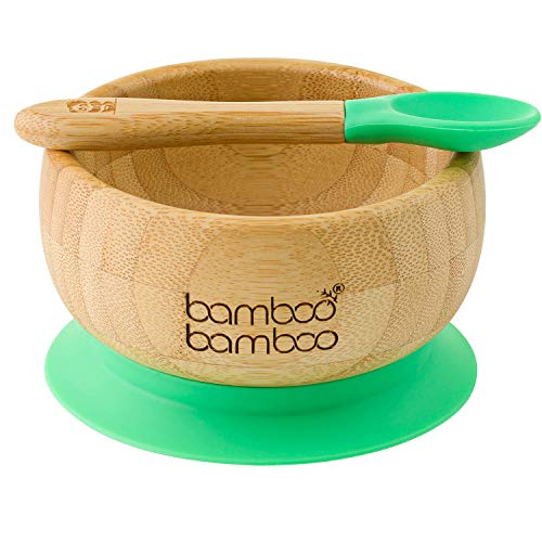 bamboo bamboo ® Baby Bowls with Suction and Spoon Set 350ml Green - Detachable Suction Base - Natural Bamboo BPA Free Weaning Bowl for Stay Put Feeding