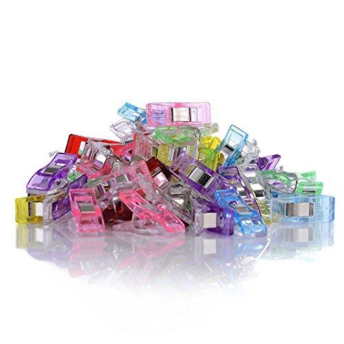 GWHOLE 60 Stück Stoffklammern Nähen Zubehöre Kunststoff 6 Farben, 27 * 10mm