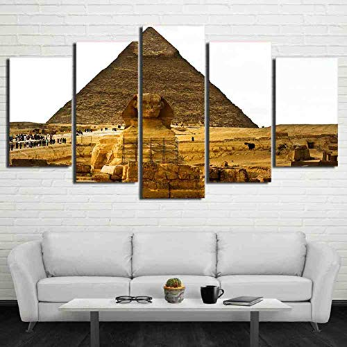 GIAOGE Canvas Modern schilderen Hd Decoratie Poster muurkunst 5 panelen oude Egypte piramide woonkamer gedrukt fotolijst mit gerahmten 40 x 60, 40 x 80, 40 x 100 cm.