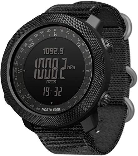 Reloj deportivo inteligente para exteriores, multifuncional, digital, reloj militar, correa de nailon, altímetro, barómetro, brújula, 50 m, resistente al agua, para montañismo, natación, color negro