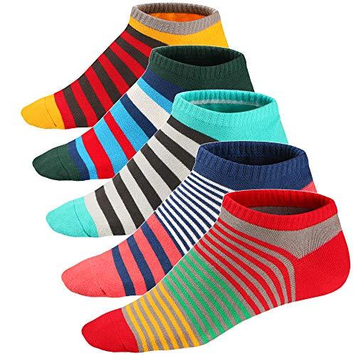 Ueither Calze da Uomo Coloratissimi in Cotone Stilisti Sportive Sneaker Calzini Corti Fantasia dal Design Comodo (39-46, Colore 9)