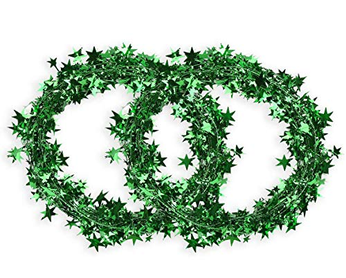DIYASY Star Wire Garlands 50 FT Green Star Tinsel Garlands for Crafts and Decoration.