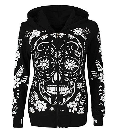Suéter con Capucha y Cremallera gótica de Halloween con Estampado de Calavera para Mujer Sudadera con Capucha de Manga Larga Sudadera Abrigo