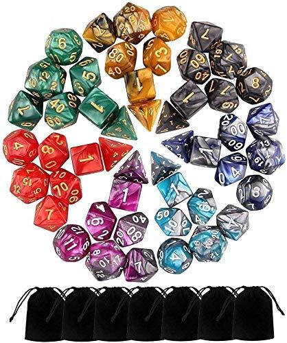 Monuary 49 Piezas Dados de rol D&D, Dado Polidrico y de rol de Juegos para Dungeons & Dragons con 7 Piezas de Bolsos, 7 Sets de RPG DND MTG D4/D6/D8/D10(0-9 y 00-90)/D12/D20