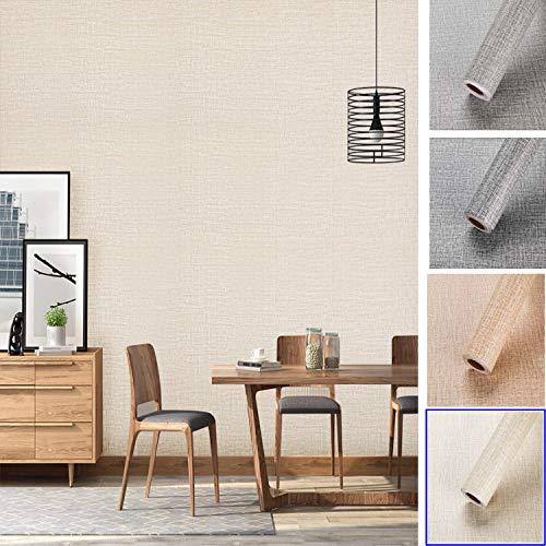 KINLO Selbstklebend Tapete wasserfest aus hochwertigem PVC Wandtapete Dekofolie 0.61 * 5M Beige-grau Sackleinen Stil Wandaufkleber Klebefolie Möbelaufkleber für Wohnzimmer TV Wand