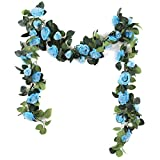 Nanhiking Artificial Vine with Flowers Indoor 2Pack Fake Silk Rose Hanging Garland Flower Hanging Decorations for Outdoor Wedding Party Wall(blue, 2)