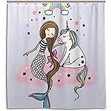 chillChur-DD Shower Curtain Set Tende da doccia Carino Stella Unicorno Sirena Tenda da bagno impermeabile Bagno Decorazioni per la casa, 168X183 Cm (66X72 In) con 12 ganci