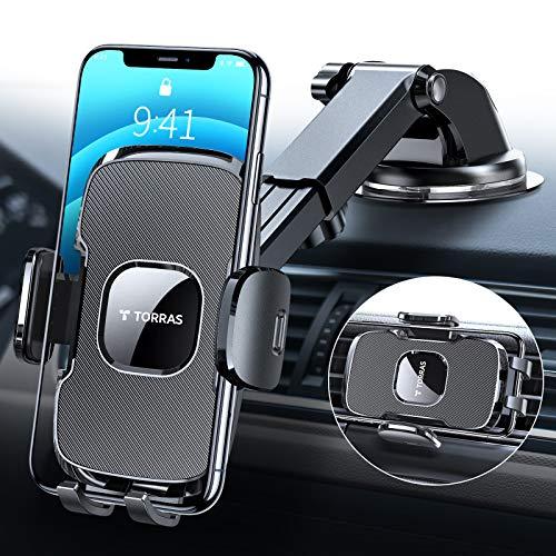 TORRAS [Militärische Qualität] 2021 Kfz Handyhalterung Auto mit Stärkerer Saugnapf & Klammer, Universale und Flexibel Handy Autohalterung für iPhone 11 12 Pro/Samsung/Huawei/OnePlus/Xiaomi usw