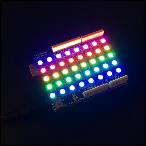 Price comparison product image KEYESTUDIO 40 RGB LED WS2812 Pixel Matrix Shield 5050SMD RGB LED Expansion Board 256 Bright Colors Display for Arduino Raspberry Pi Microcontrollers Projects
