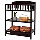Wooden Children Infant Baby Changing Table with Storage Shelves, Espresso Cherry - Include Changing Pad