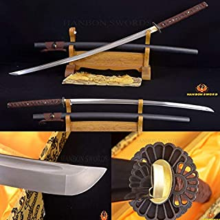 GUREN Japanese Samurai Full Tang Sword Katana Hand Forged Damascus Steel Sharp Can Cut Bamboos