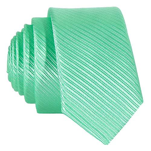 DonDon schmale mintgrüne Krawatte 5 cm gestreift