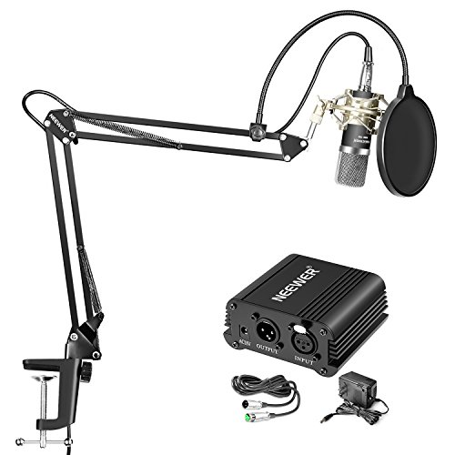 Neewer NW-700 Professional Condenser Microphone and NW-35 Suspension Boom Scissor Arm Stand, 48V Phantom Power Supply Kit with XLR to 3.5mm Cable and Mounting Clamp, Shock Mount (Silver), Pop Filter