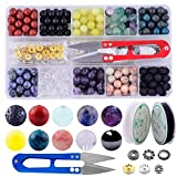 Stone Beads Box Set Kits 240pcs Round Loose Gemstone 8mm Natural Amethyst Black Obsidian Lava Stone Fluorite Assorted with Accessories Tools for Bracelet Jewelry Making Meditation(Stone Beads Kit 2)