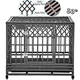 SMONTER Heavy Duty Dog Cage for Large Dog Strong Metal Kennel and...