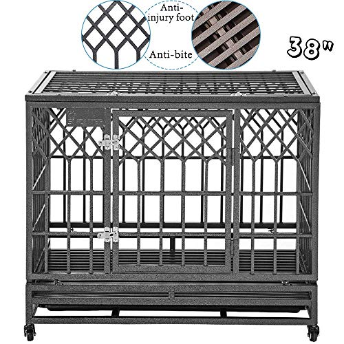 SMONTER Heavy Duty Dog Cage for Large Dog Strong Metal Kennel and Crate Pet Playpen with Three...