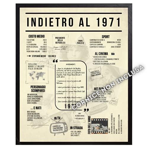 B3AL Idea Regalo 50° Compleanno Uomo Donna per Festa o Anniversario Anno 1971 da Incorniciare con Idee Originali con Decorazioni e Palloncini Dim. 21 x 30 cm (Cornice esclusa)