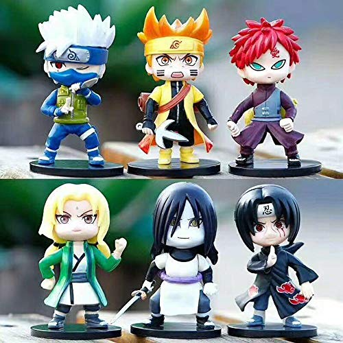 ZDYHBFE Naruto Anime Q Versión 6 Modelos Kakashi Naruto Itachi Oshomaru Tsunade Gaara Versión Estatua Muñeca Escultura Juguete Decoración Modelo Altura 8 cm