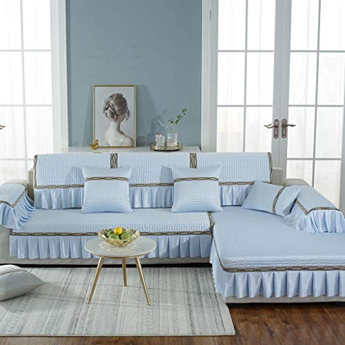 GCP Thick Couch Cover L Shape,Multi-Size Breathable Stain Resistant Chaise Longue Sofa Slipcover,with Skirt for Living Room Blue 70x240cm(28x94inch)