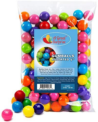 Gumballs in Bulk – Apx. 120 Gumballs - 2 Pounds - Gumballs Refill – Gumballs for Gumball Machines – Gumballs 1 Inch - Bulk Candy