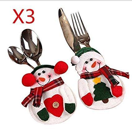 Paracity Décorations de Noël Fournitures Motif décorations de Noël Sac Cadeau, Polyester, Fork& Knife Bag, Lot de 3