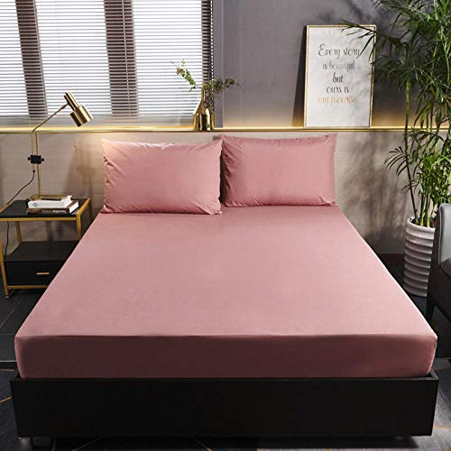 GTWOZNB Luxurious No-Iron Bed Sheet is Breathable- Top Sheet is Oh-So-Soft Pure Color Brushed Waterproof Bed Sheet-Bean Paste_150cmx200cm
