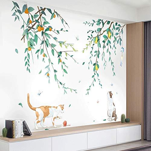 BLOUR Pegatinas de Pared de Rama de árbol para Sala de Estar Dormitorio Encantador Gato Vinilo calcomanía de Pared ecológico Mural de Pared extraíble decoración del hogar